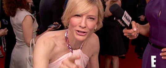 Camera: *slowly pans up and down Cate's body* Cate: Do you do that to the guys?